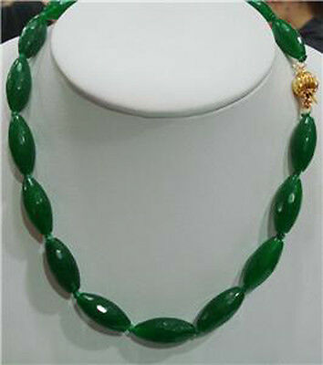 """Big 10X22mm Natural Faceted Green Jade Rice beads Gemstones Necklace 18"""""""