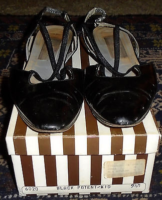 "VINTAGE 1980s HENRI BENDEL BLACK PATENT LEATHER ""PETRA"" SHOES+BOX 9.5M LOW HEEL"