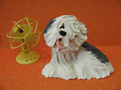 Handsculpted Old English Sheepdog Dog with Fan Figurine
