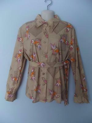 Womens Vintage Floral Blouse Shirt Top Rockabilly Polyester Plus Size 42 Nos