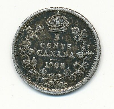 1908 Canada Five Cent Silver Coin
