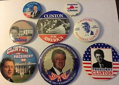 Lot of Eight Bill Clinton Political Campaign Pinback Buttons