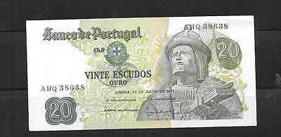 Pprtugal #173 Vf Circ 1971  20 Escudos Banknote Paper Money Currency Bill Note