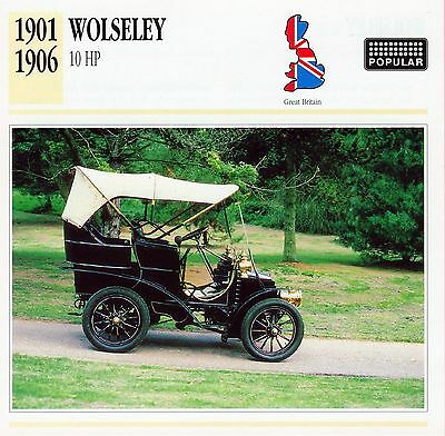 1901-1906 WOLSELEY 10 HP collector card.