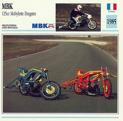 1985 MBK 125cc MOBYLETTE DRAGSTER motorcycle card.