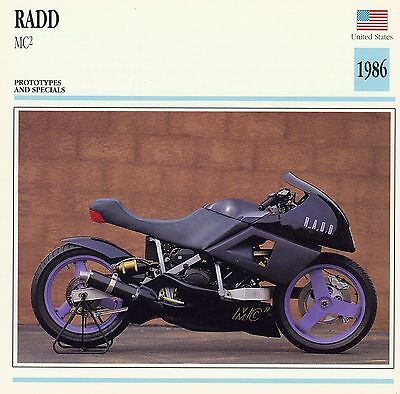 1986 RADD MC2 motorcycle collector card.