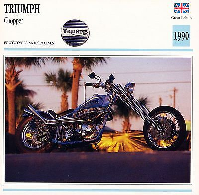 1990 TRIUMPH CHOPPER motorcycle collector card.