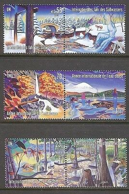 U.N. 2003 International Year of Freshwater MNH All 3 Offices