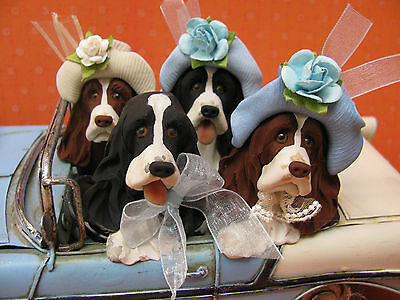 Handsculpted English Springer Spaniel Dog Summer Car Ride Figurine