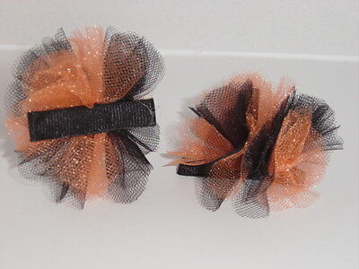 Halloween Colors Tulle Hair Bow with alligator clip