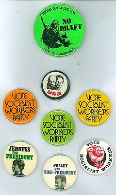 8 Vintage 1970s-80s Socialist Workers Party Political Campaign Pinback Buttons