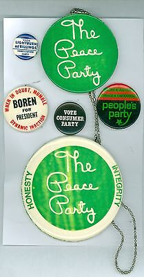 5 Vintage 1960s-80s New York The Peace Party Political Campaign Pinback Buttons
