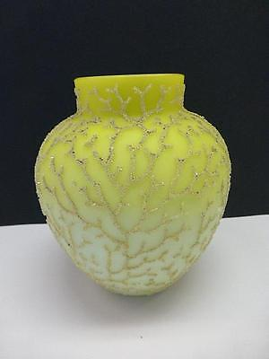 Antique MT. Washington CORALENE Seaweed Satin Yellow Art Glass VASE