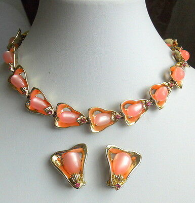 Mid-Century Modern PINK MOON GLOW Lucite Cabochon Vintage Necklace Earrings SET