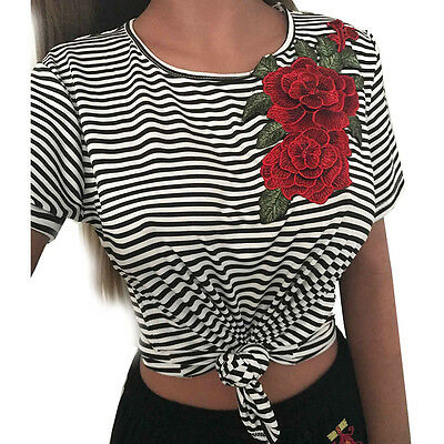 Women Short Sleeve Crew Neck Striped Embroidered Rose T-shirt Tee Blouse Tops