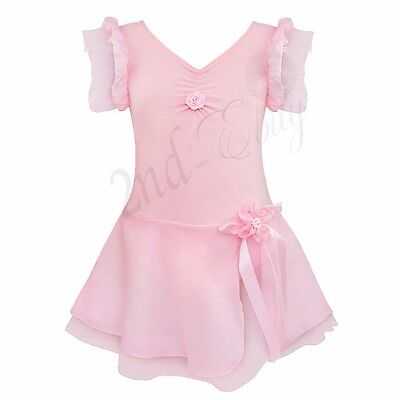 Girls Kids Toddler Ballet Leotard Gymnastics Tutu Dress Dance Wear Costume 5-6T