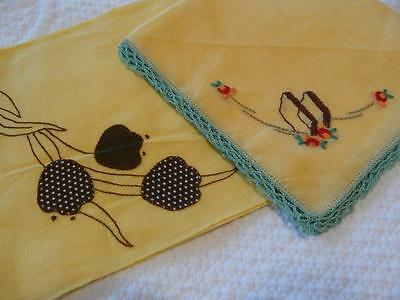 2 Vintage Yellow Hankies Handkerchiefs with Lovely Embroidery Applique+Crochet