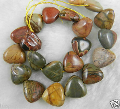 """Natural 15Mm Multicolor Picasso Jasper Gems Heart-Shaped Loose Bead Strand 15"""""""