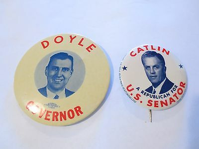 2 Large Pinbacks for US Senate and Governor from Wisconsin