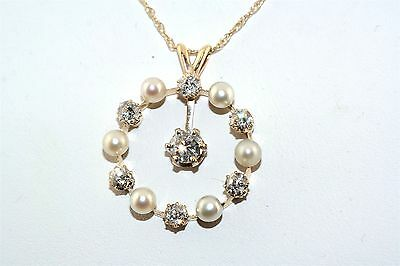 Fabulous Cultured Pearl & 1.50 tcw Diamond 14k Yellow Gold Pendant Necklace
