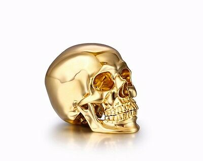 """Nice 1.2"""" Solid 18K Gold Skull, Super Realistic #S822"""