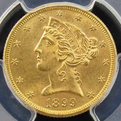 1899 Liberty Head Gold $5 Half Eagle - PCGS MS63 - Certified & Graded 22K