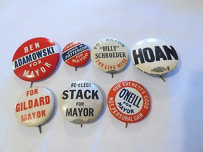 Collection of 7 Pinbacks for Various Mayors