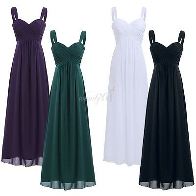 Women Lady Chiffon Pleated Bridesmaid Formal Dress Boho Evening Party Prom Gown