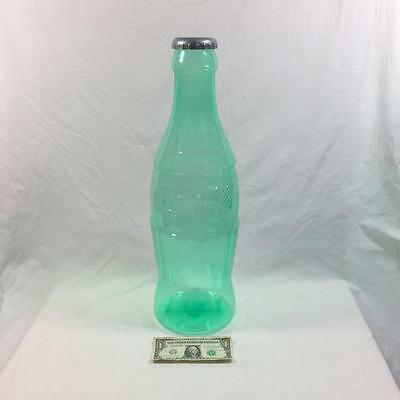 "giant green Coca Cola Bottle BANK - Coke Piggy Bank - almost 24"" wow!! free ship"