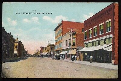PARSONS KS Kansas c1911 Main Street Business District