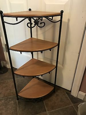 Longaberger Wrought Iron Corner Foundry  4 Tier Stand With Wood Shelves