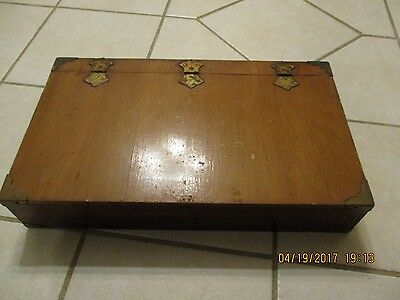 Vintage Hand Made Wood Box Brass Corners Latch Chest Home Made Dividers