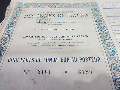 Antique 1896 Societe Anonyme Des Mines de Hafna France Share Stock
