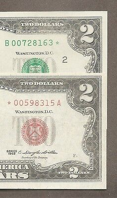1963 + 2013B STAR - ( 2 ) $2 EF/AU Red & Green Seal Notes
