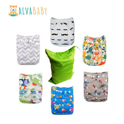 6Alva Baby Reusable Pocket Cloth Diapers +6 Inserts+1 Waterproof  Wet Bag  In US