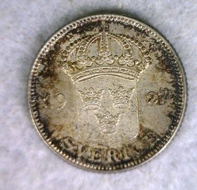 SWEDEN 50 ORE 1927 TONED UNCIRCULATED SWEDISH SILVER COIN (Stock# 0307)