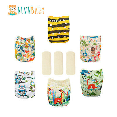 6Alva Baby Boy Reusable Pocket Cloth Diapers +6 Inserts+3 Bamboo Inserts  In US