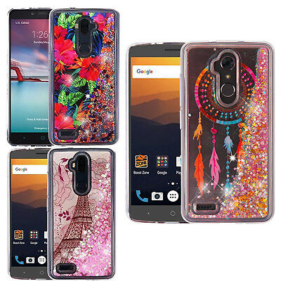 FOR ZTE MAX XL N9560 Liquid Glitter Quicksand Hard Case Phone Cover