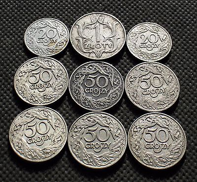 Lot Of Nine Old Coins Of Poland (Second Republic) -  Mix 921