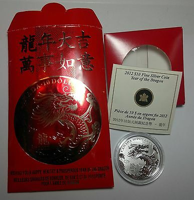 2012 Canada  $10 Year Of The Dragon 99.99 Silver Coin