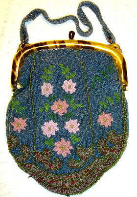 Antique Micro Beaded Purse Bag With Celluloid Frame