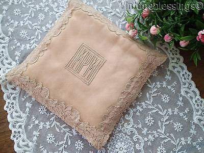 Fine Silk & French Alecon Lace Mono MPM Handkerchief Lingerie Holder Pocket
