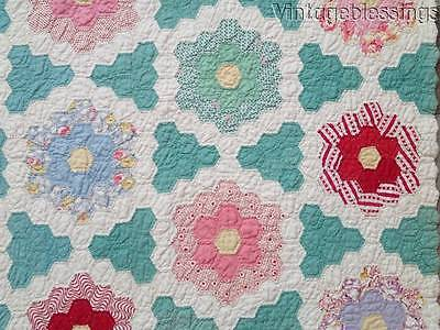 Expert Quilting Cottage Home VINTAGE 30s Flower Garden QUILT A Really Sweet One!