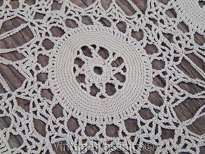"Intricate 1930-40s Hand Crocheted Vintage Lace Coverlet 75"" x 54"""