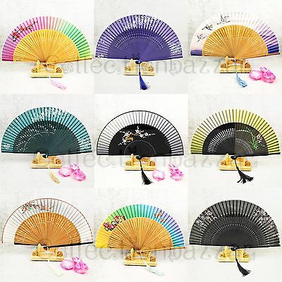 New Arrival Chinese Silk Bamboo Hand Fan Gift Set for Wedding/ Collection