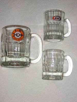 Vintage Lot of 3 Glass A & W Root Beer Mugs