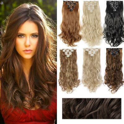 Heat Resistant full head 8piece clip in hair extensions curly straight Synthetic