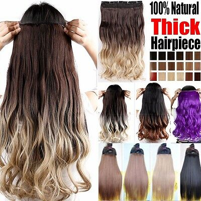 Ombre Clip in Hair Extensions One Piece Long Thick Hair Piece Brown to Blonde AU