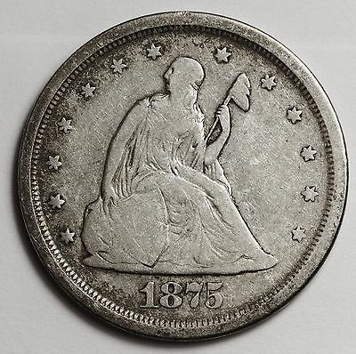 "1875-s 20 Cent Piece.  Die Break Reverse from Rim to ""U"" in United. V.G. 107224"