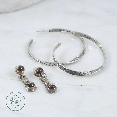 Sterling Silver | (QTY 2 Pair) Assorted Garnet Textured Hoop Earring 18.4g | Lot